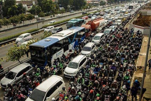 Jakarta traffic with green Go-Jek